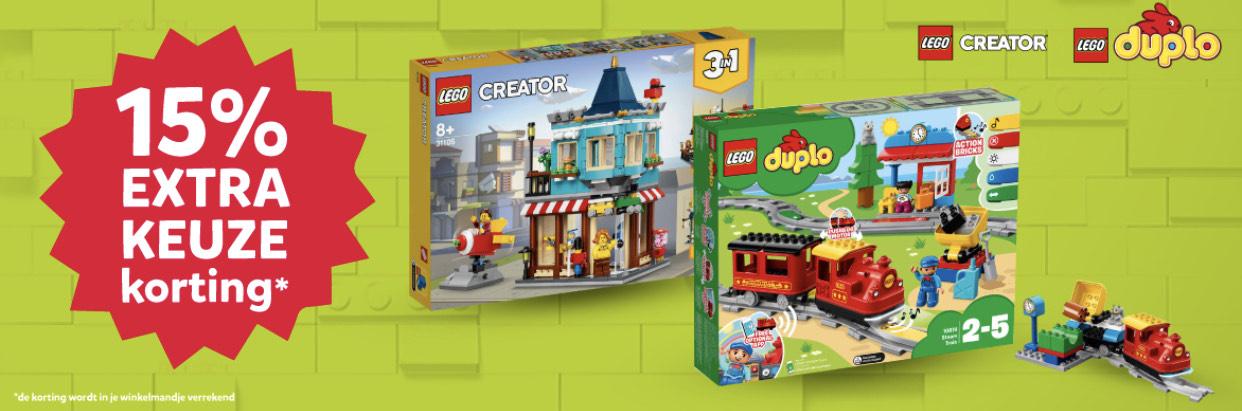 15 % keuze korting op Lego creator en duplo