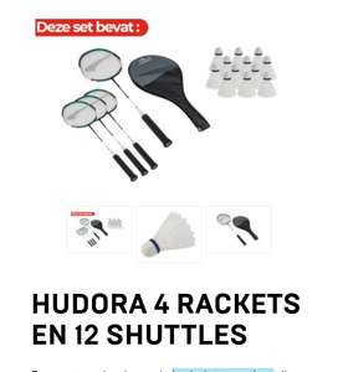Hudora 4 Rackets en 12 Shuttles