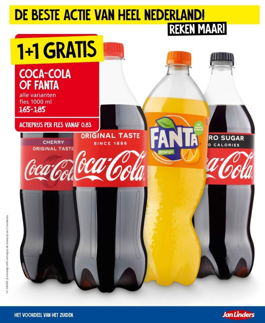 [1+1 gratis] Liter flessen Coca-Cola/Fanta @Jan Linders
