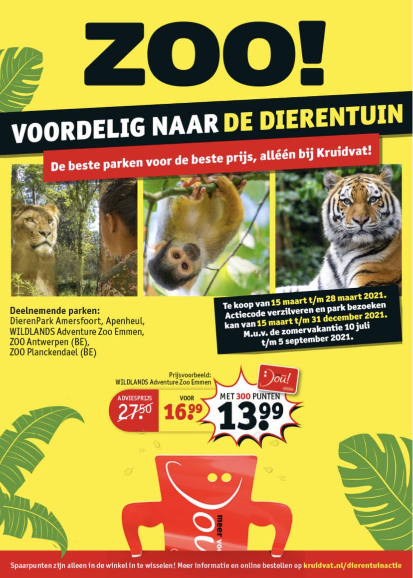 Dierentuinactie [Tickets voor €16,99 of €13,99] NL & BE @ Kruidvat
