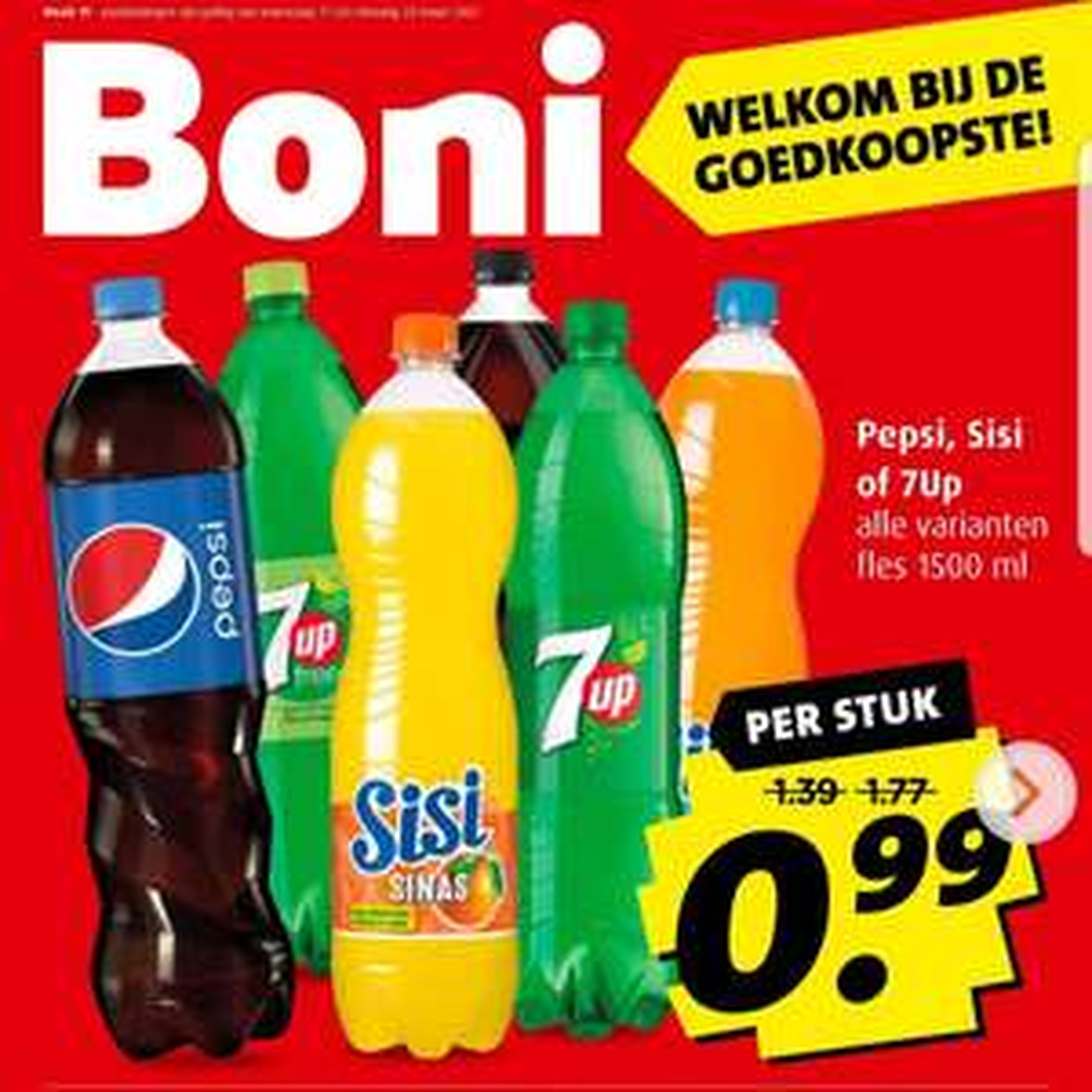 1,5L flessen Pepsi, Sisi of 7up @Boni