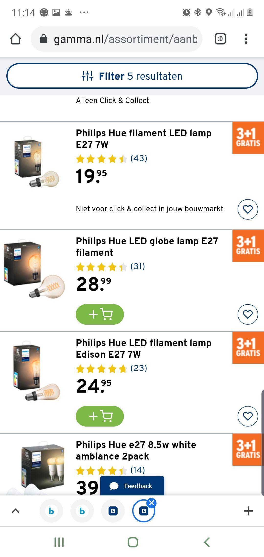 3+ 1 gratis, Philips Hue Filament en White ambiance gu10/e27