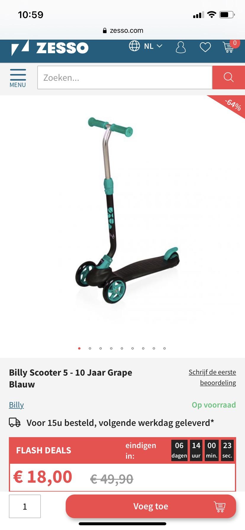 Billy scooter 5-10 jaar grape blauw