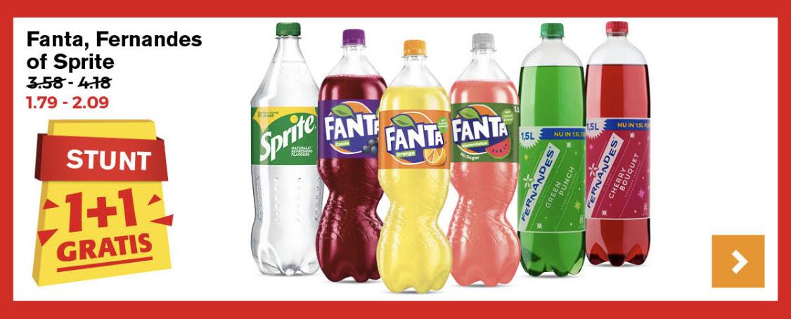 Fanta , 1,5 liter flessen , 1+1 gratis