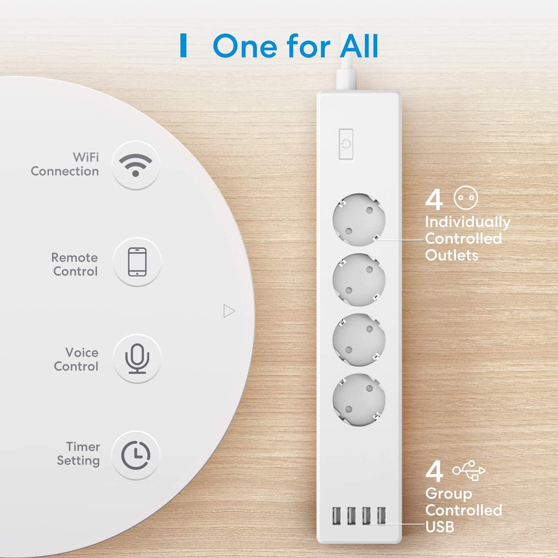 Meross slimme stekkerdoos (WLAN, 4xAC, 4xUSB, Alexa, Google Assistant) voor €20,74 @ Amazon NL