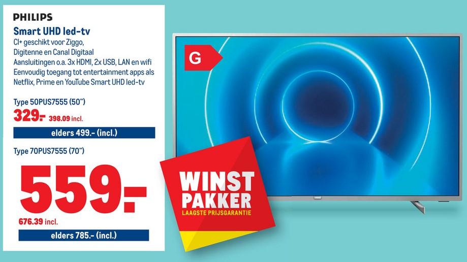 Philips 50PUS7555 Zilver Smart TV en andere TV's bij Makro