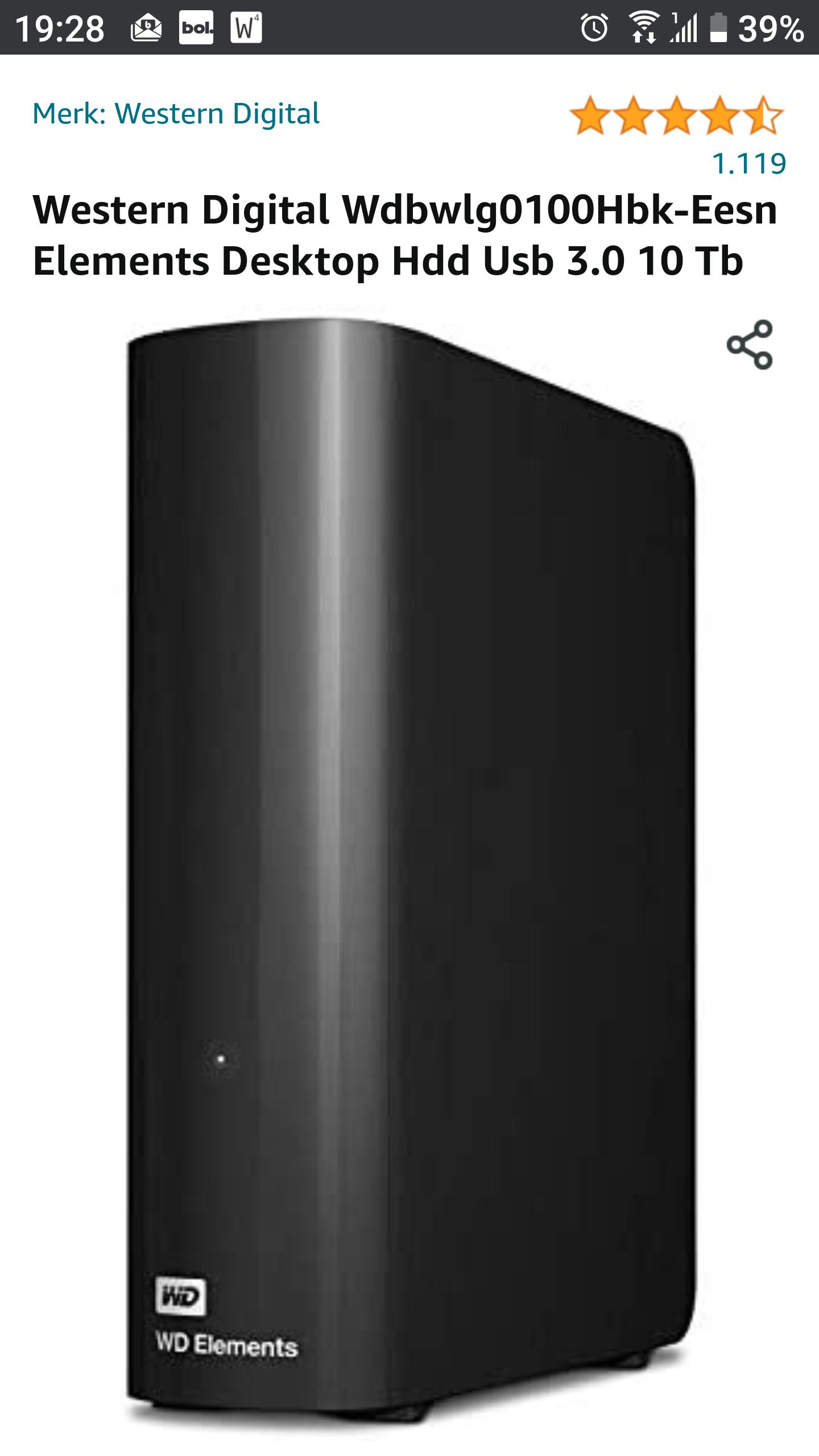 Western Digital 10TB Elements Desktop externe harde schijf USB3.0 -WDBWLG0100HBK-EESN