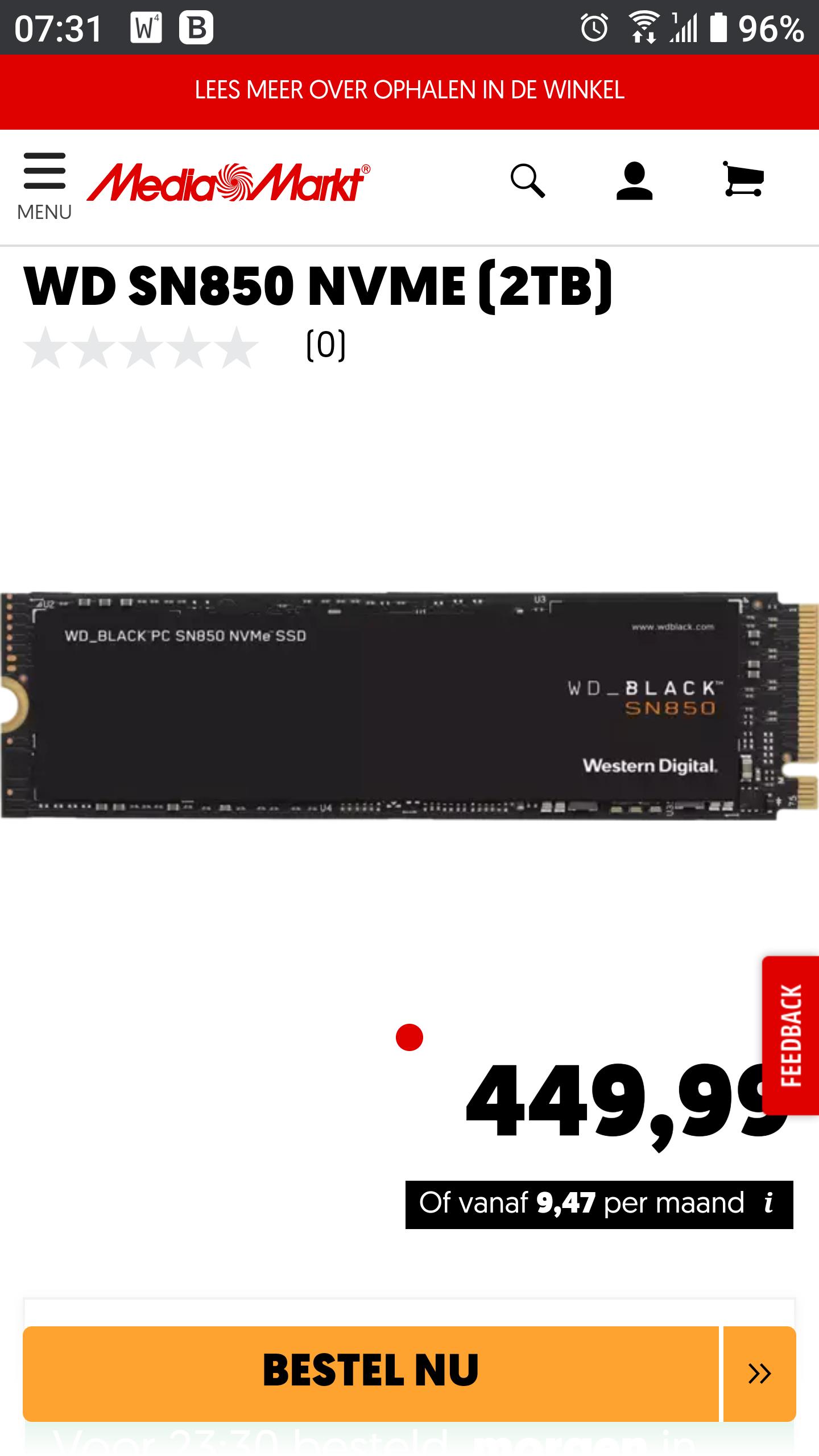 WD Black NVMe SSD SN850 2TB (zonder heatsink) PCI Express 4.0 (4x)