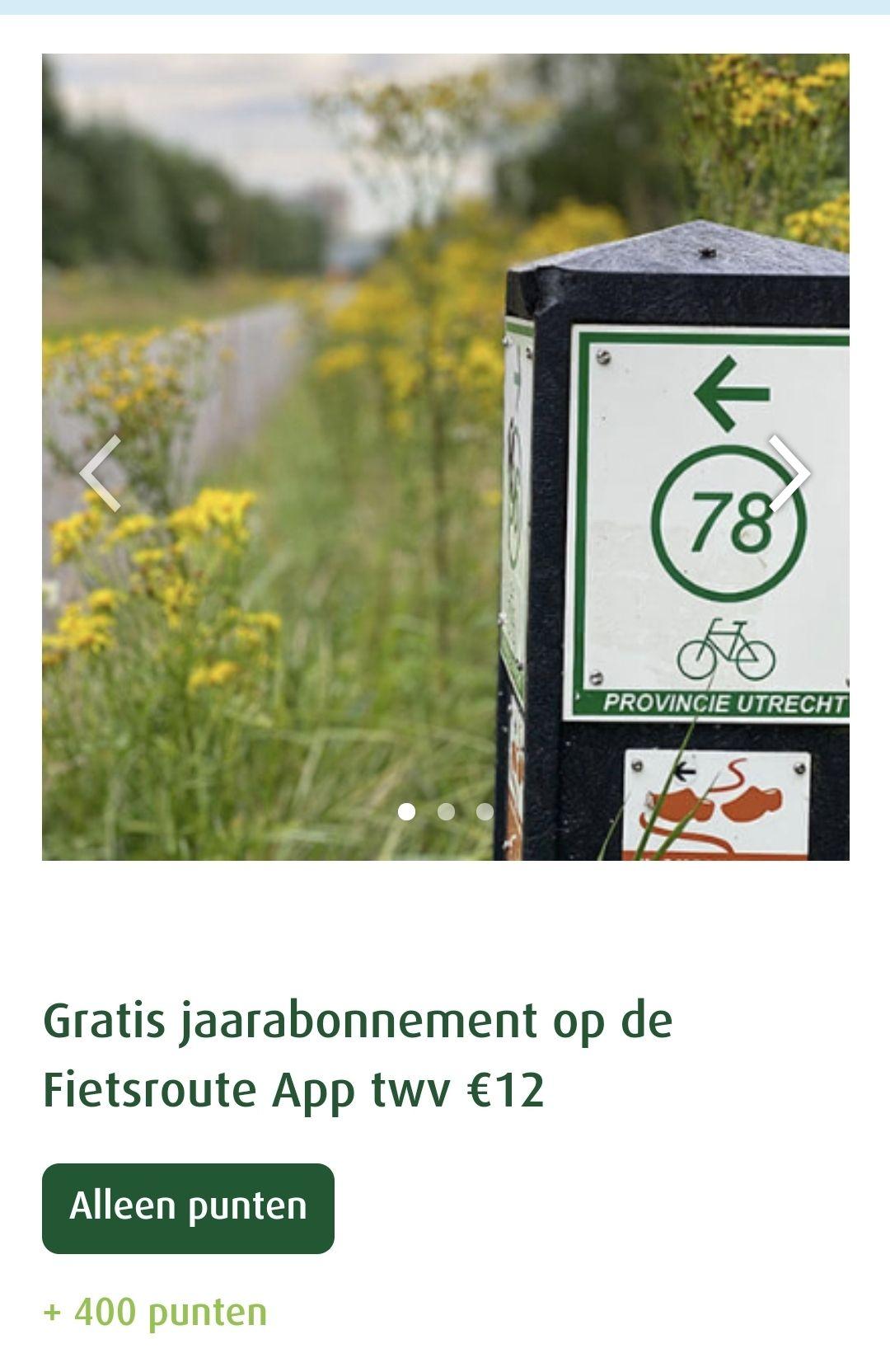 Gratis abonnement fietsroute app bij Greenchoice
