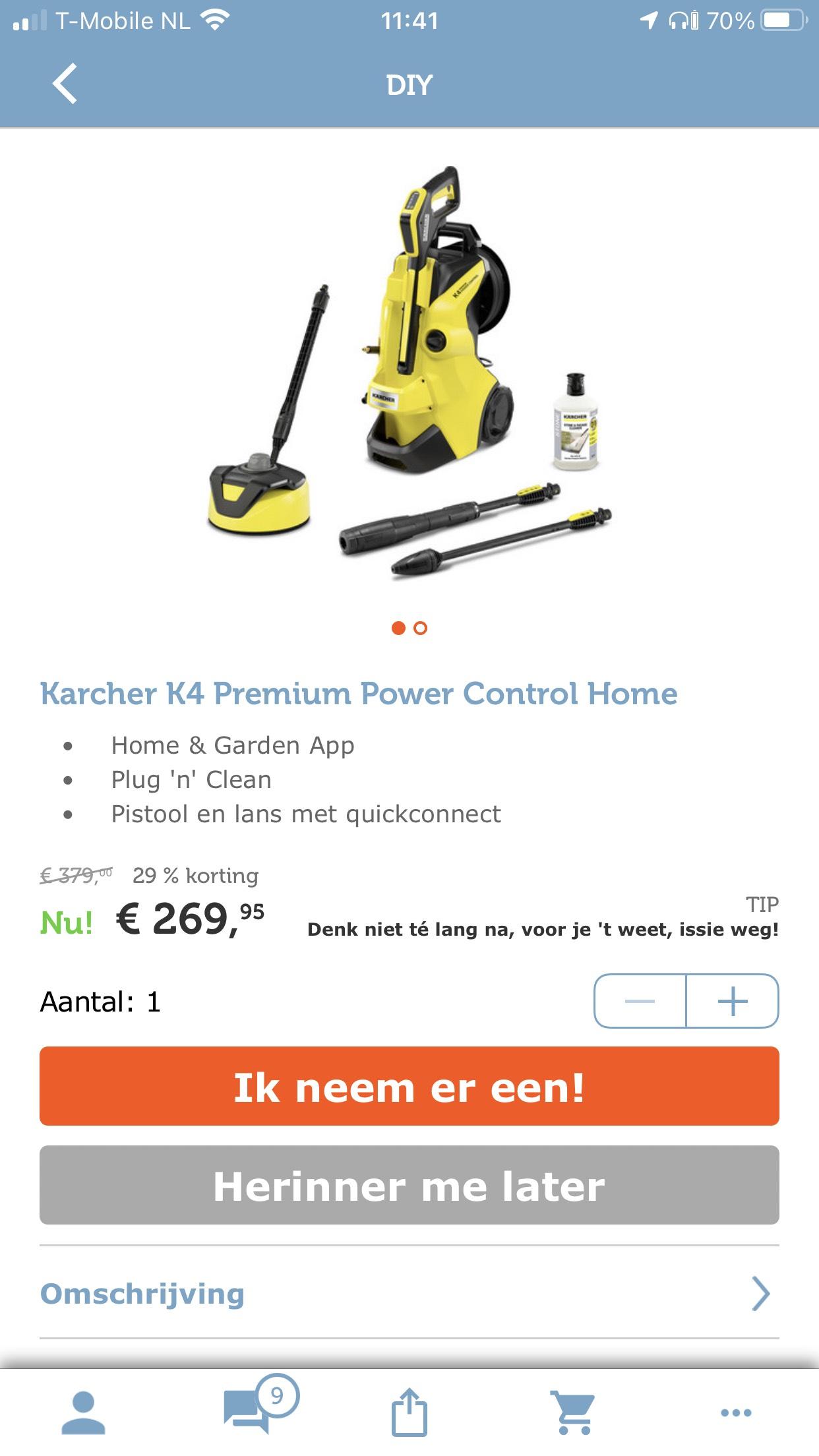 Kärcher hogedruk reiniger K4 premium power control home