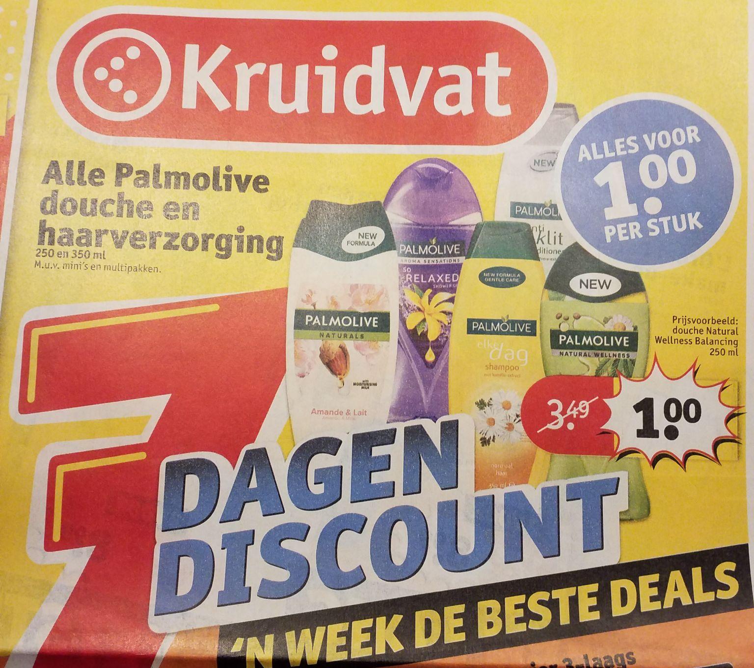 Palmolive douche en haarverzorging bij Kruidvat 1 euro per stuk 250 ml en 350 ml