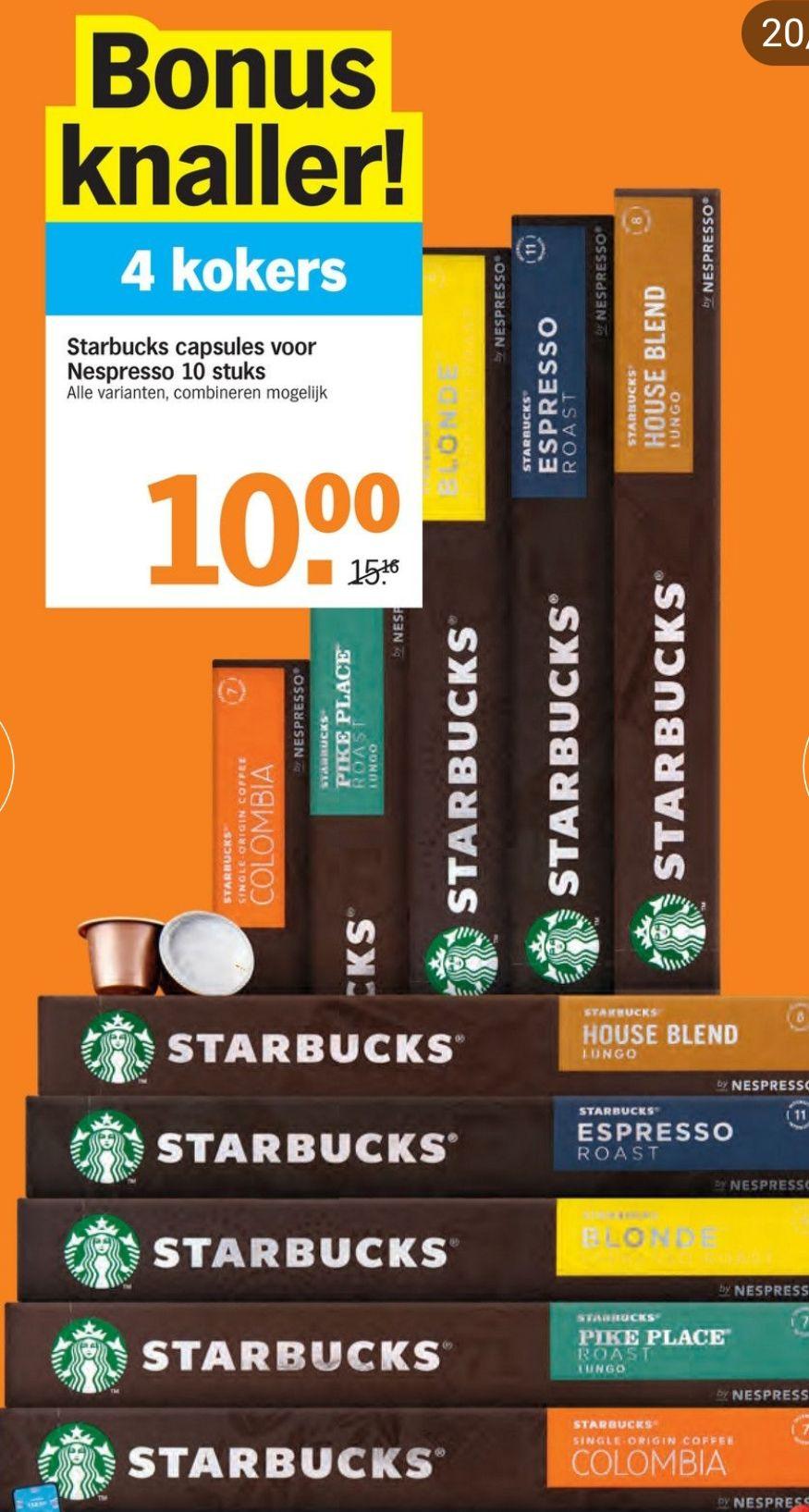4 Starbucks kokers [40capsules] voor €10 @Appie