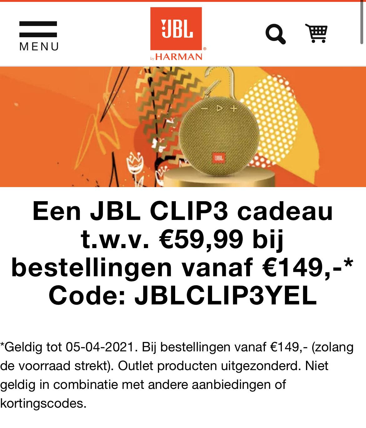 Gratis JBL Clip3 t.w.v. € 59,95 bij bestellingen vanaf €149 @ JBL