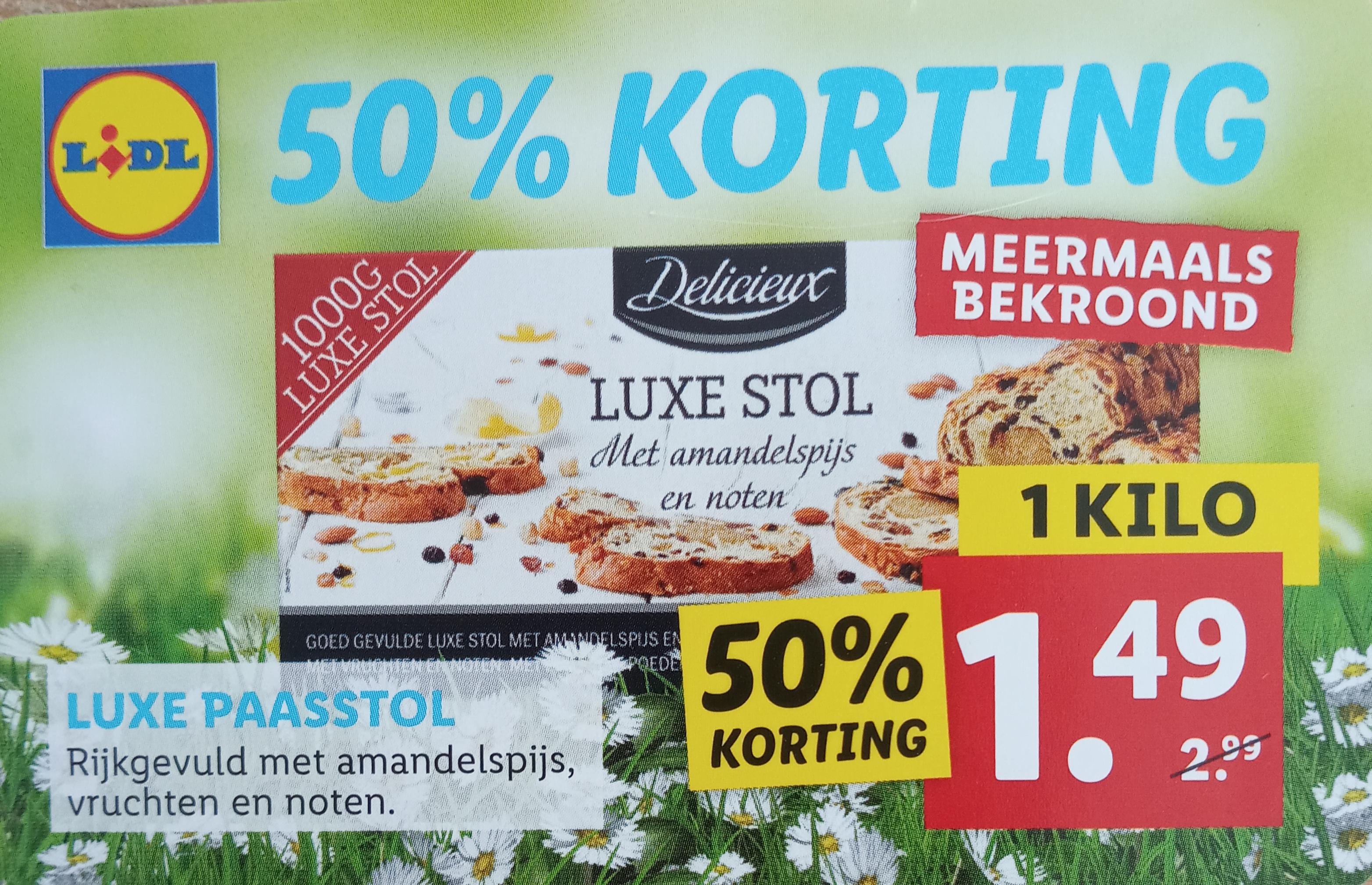 Luxe paasstol Lidl €1,49 met coupon en zelfscan