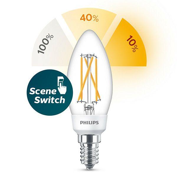 Philips SceneSwitch e14 met ingebouwde dimmer (10%-40%-100%) (1 watt, 2 watt, 5 watt)