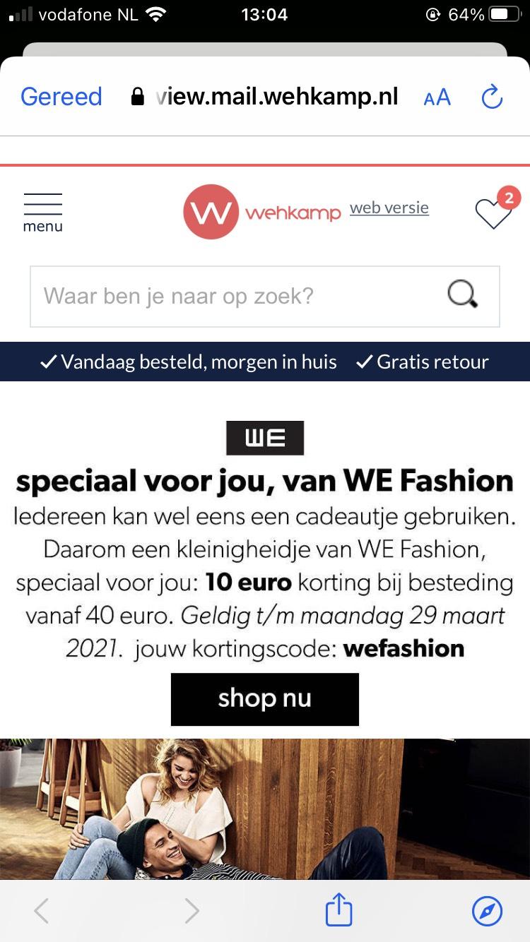 10 euro korting WE fashion bij Wehkamp