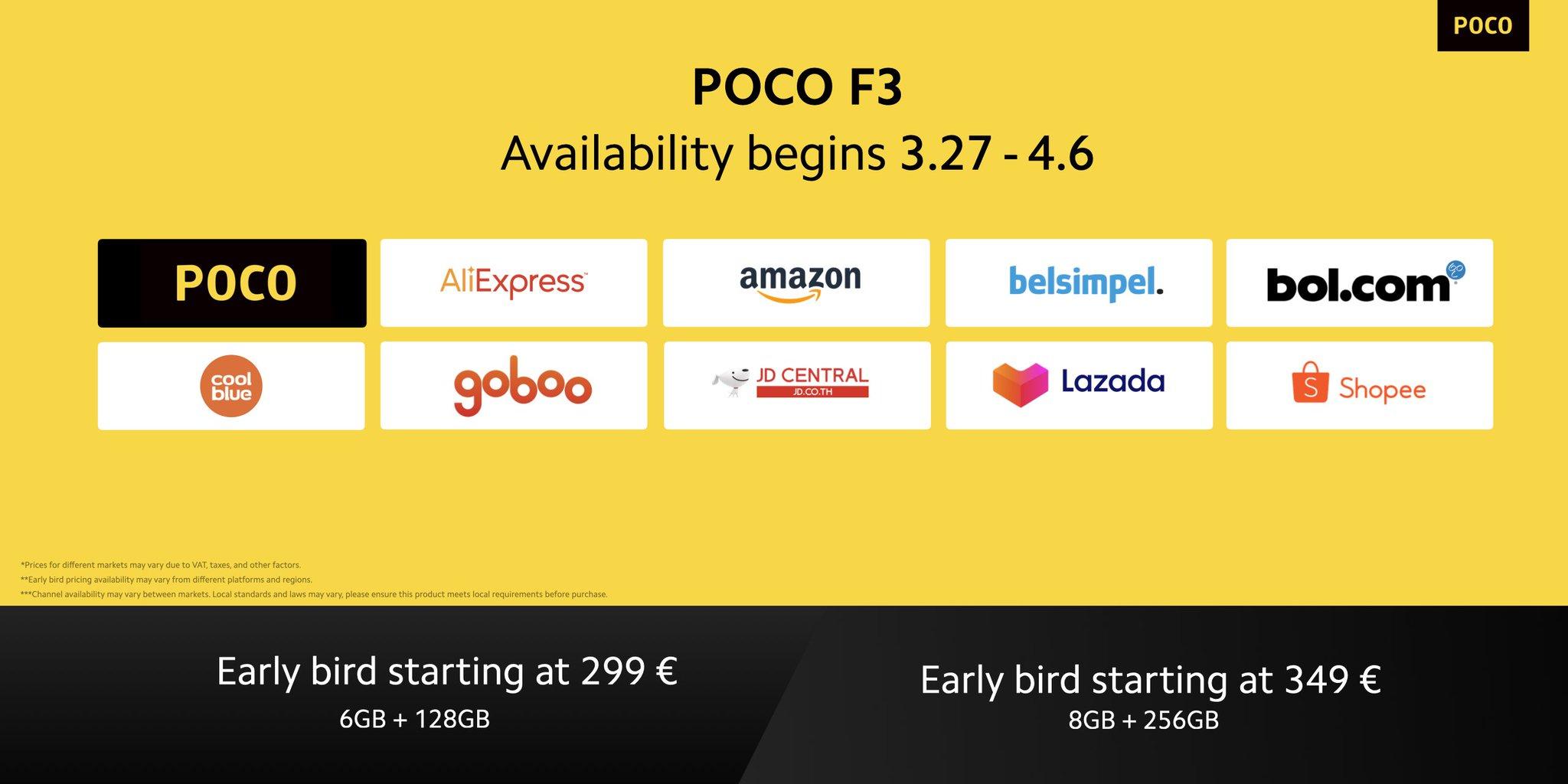 Poco F3 6GB/128GB tijdelijk voor €299 (early bird actie) @ Poco/Amazon/Belsimpel