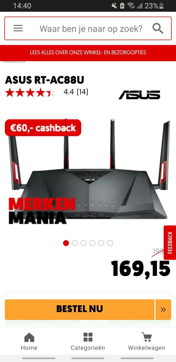 ASUS RT-AC88U (€109,15 met cashback)
