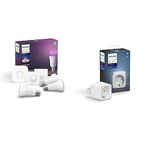 Philips Hue White en Color Ambiance-pakket met 3x E27 lampen, bridge en 2 slimme knoppen + Smartplug