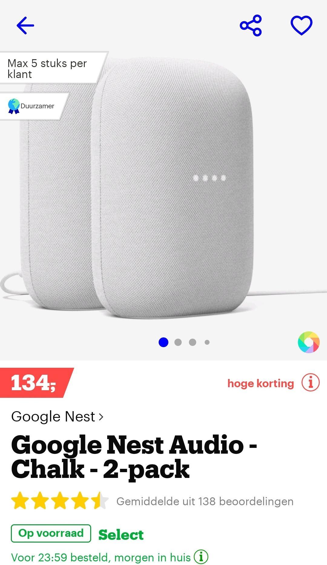 Google nest audio 2-pack krijt of houtskool
