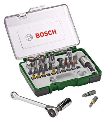 Bosch 2607017160 27-Piece Screw/Ratchet Set (Extra Hard Quality, Accessory Screw Drill/Screwdriver), Silver
