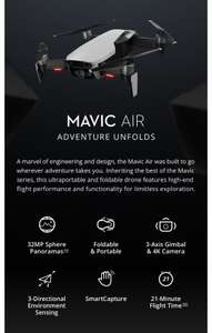 DJI Mavic Air 4KM FPV w/ 3-Axis Gimbal 4K Camera 32MP Sphere Panoramas RC Drone Quadcopter RTF white Evt fly more combo