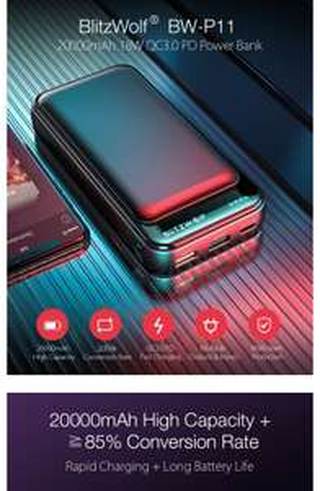 BlitzWolf® BW-P11 20000mAh 18W QC3.0 Powerbank