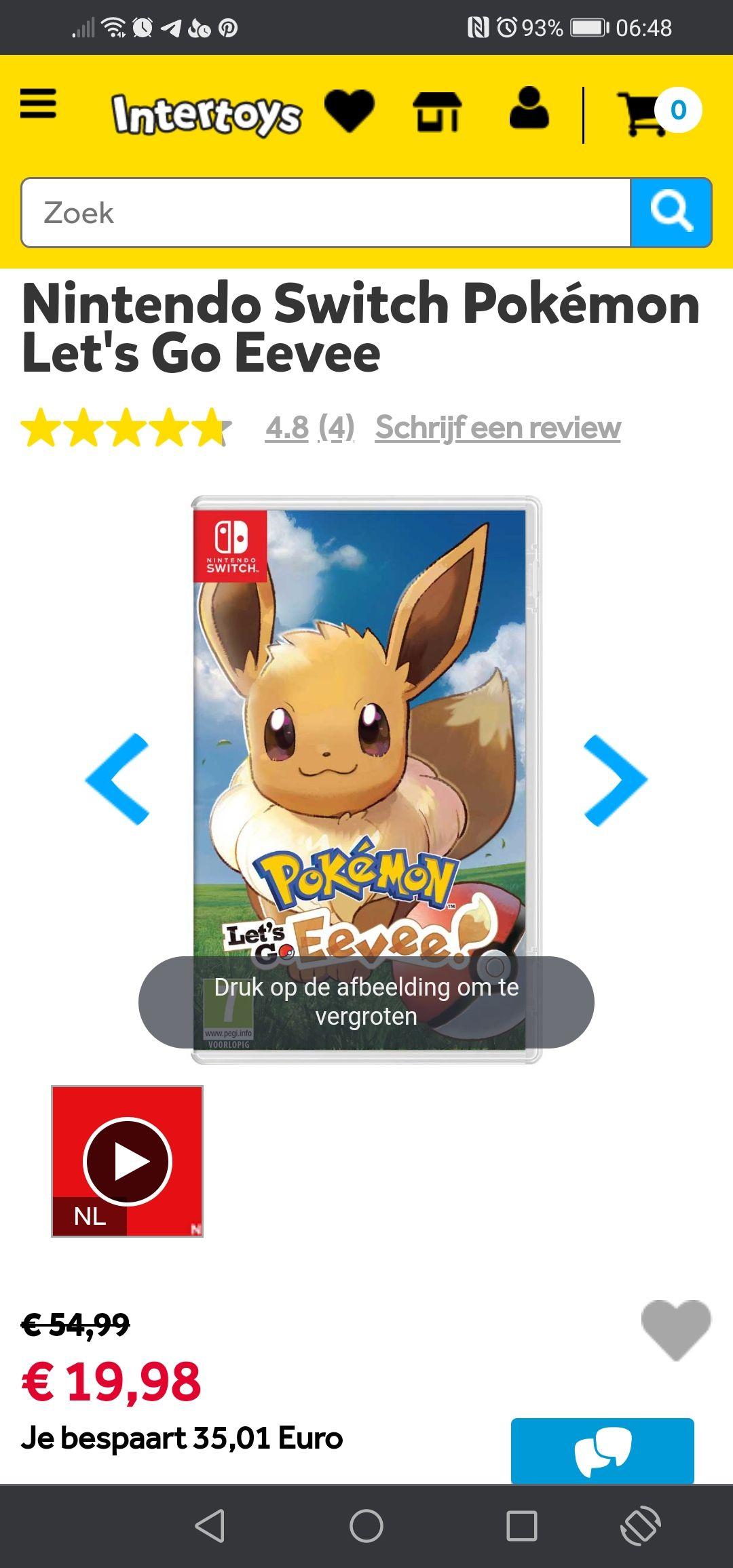 [Lokaal] Pokémon let's go Eevee Nintendo Switch