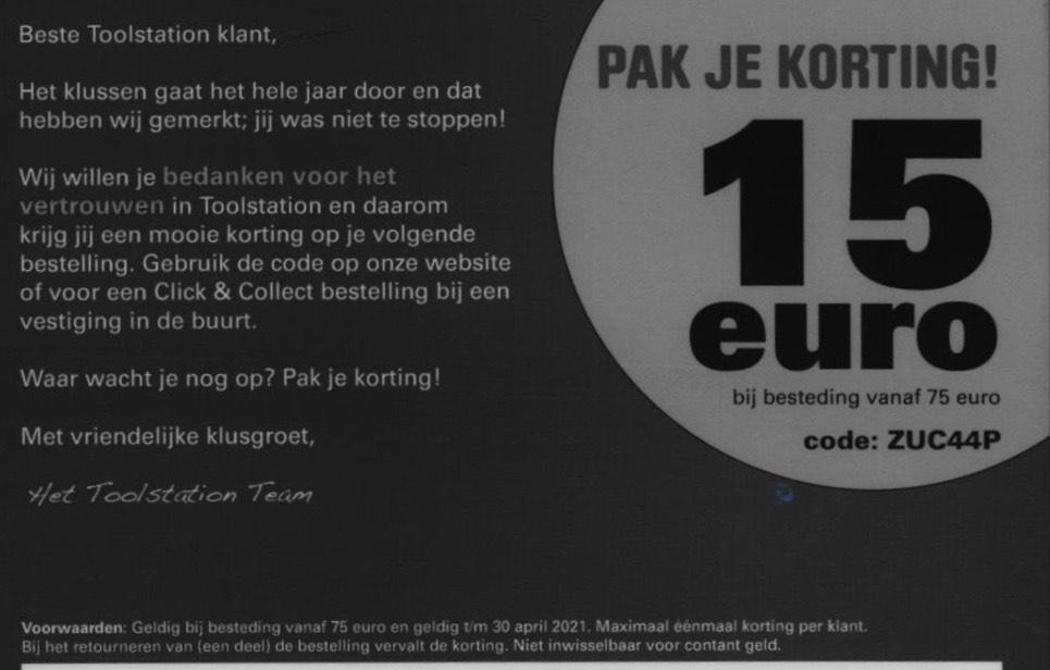 Toolstation 15 euro korting bij besteding vanaf €75