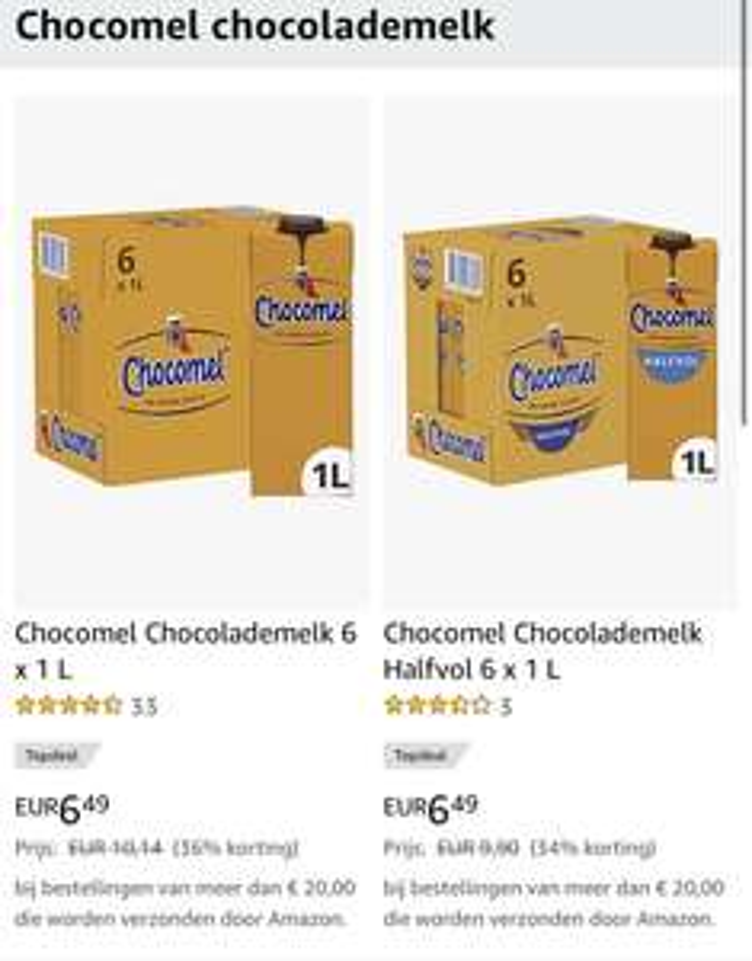 6x (halfvolle) chocomel chocolademelk 1L