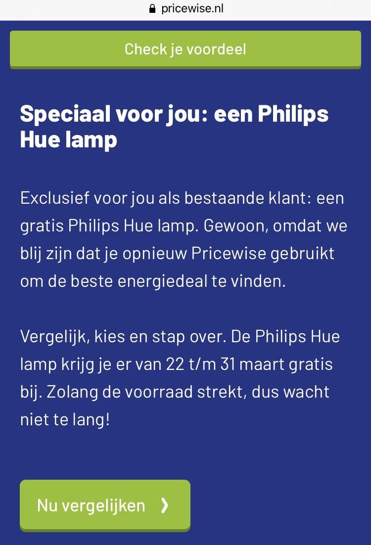 Gratis Philips Hue lamp bij afsluiten energie via Prisewise