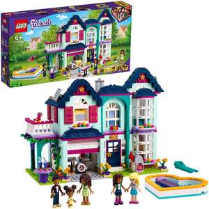 LEGO 41449 Friends Andrea's Family Home Playset, Dollhouse with Swimming Pool and Music Studio