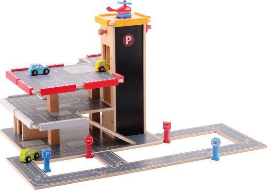 Jouéco houten Garage met Accessoires - 20 delig