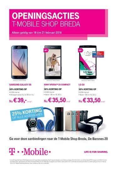 Opening T-Mobile Shop Breda 18-21 februari. 50% korting.