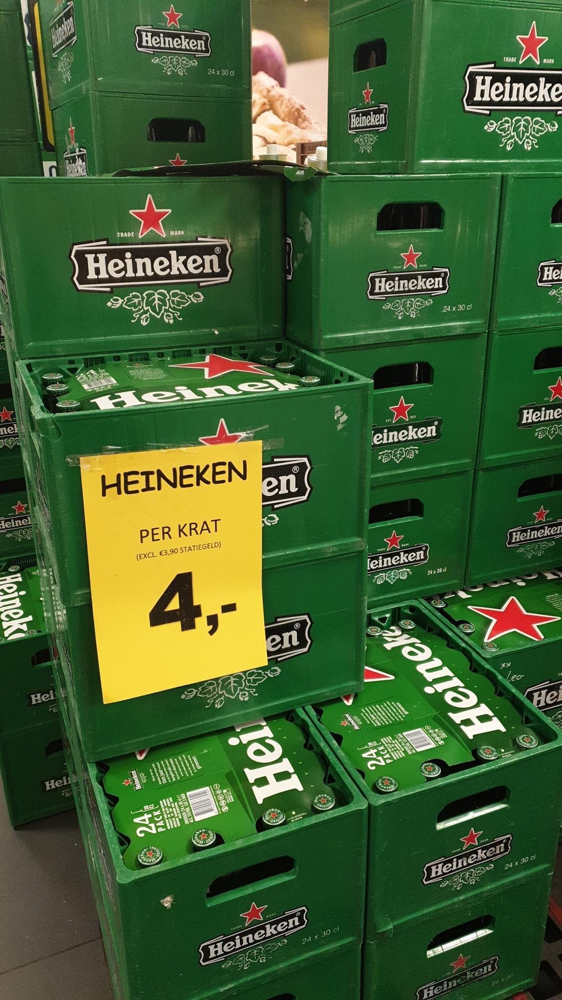 Heineken 4 euro per krat