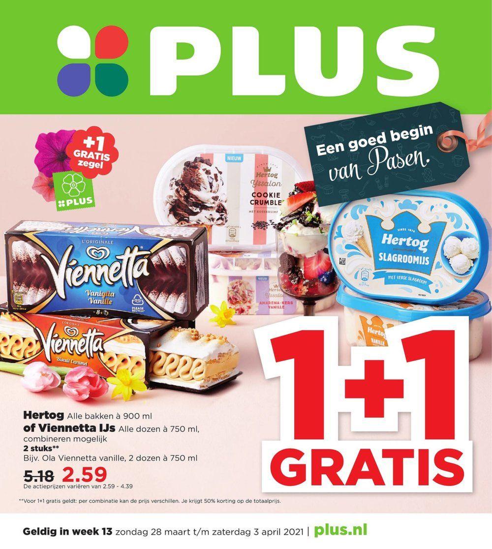 Hertog ijs en Viennetta Ijs 1+1 gratis @plus