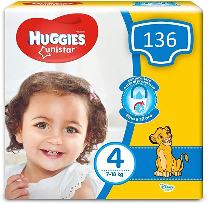 Huggies Unistar luiers, maat 4 (7-18 kg), 136 luiers @ Amazon.nl