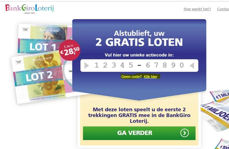 2x GRATIS lot @ BankgiroLoterij