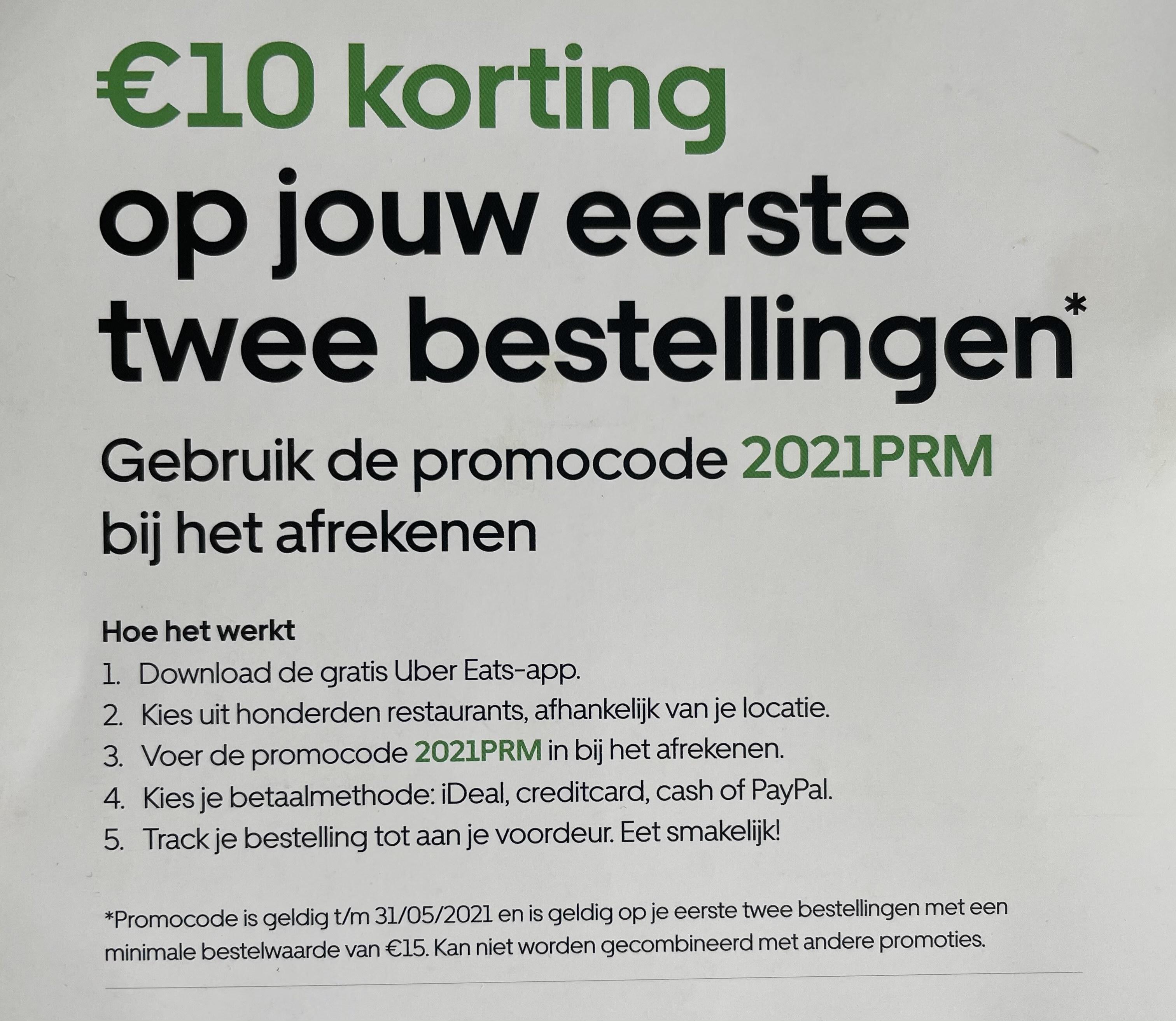 €10 korting op eerste 2 bestellingen UberEats