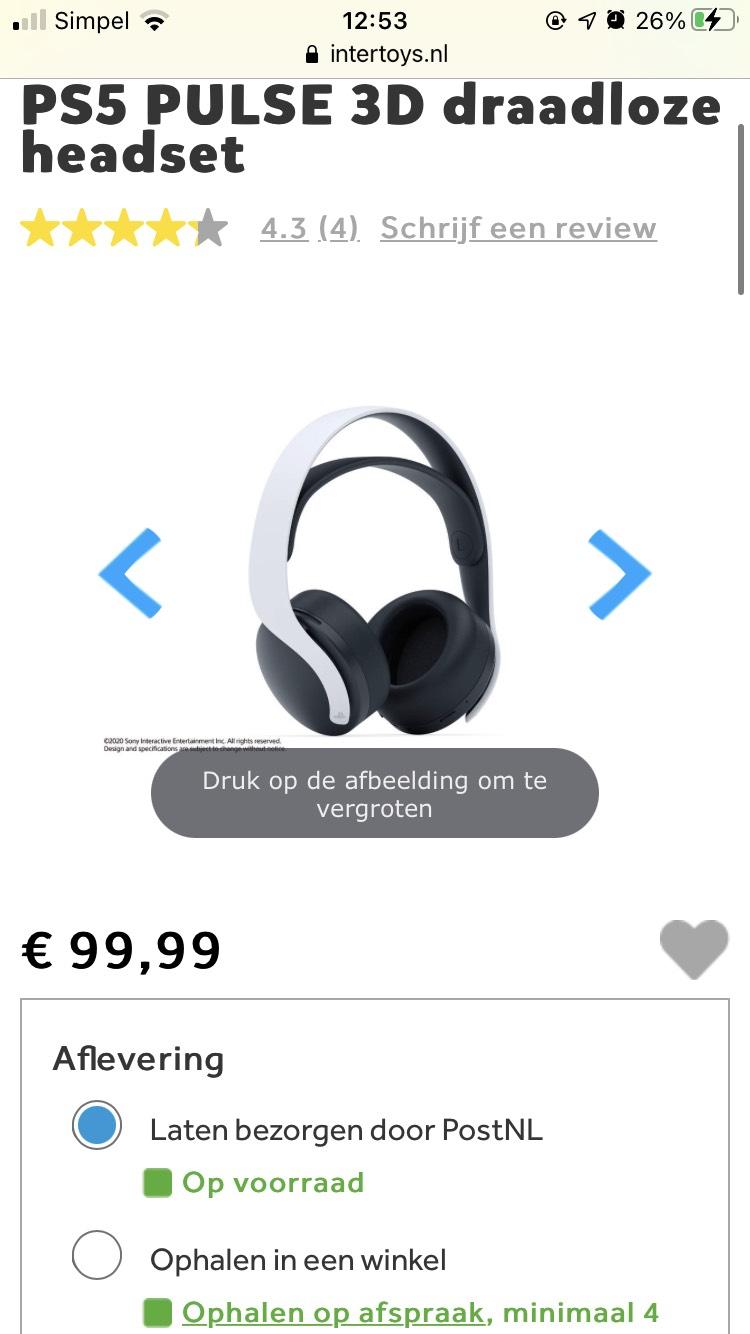 PS5 Pulse 3D Draadloze Headset @intertoys