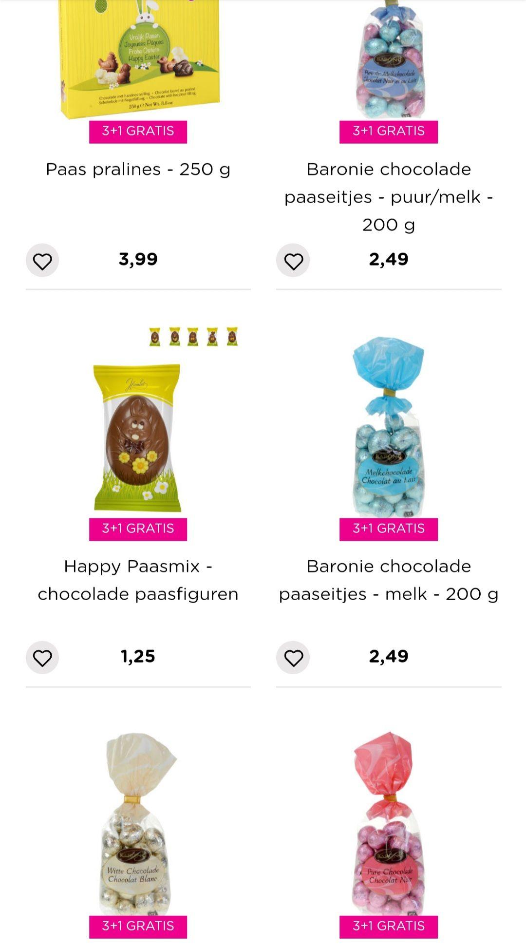 Heel veel Paas artikelen en Paas chocolade/snoep 3+1 gratis