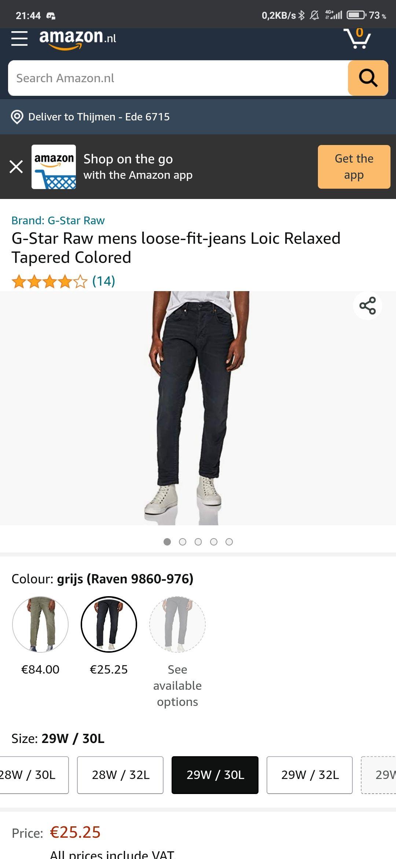 G-star Raw jeans voor €25,25 (heren)