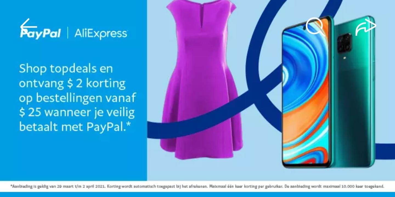 $2 korting bij een minimale besteding van $25 door afrekenen met PayPal