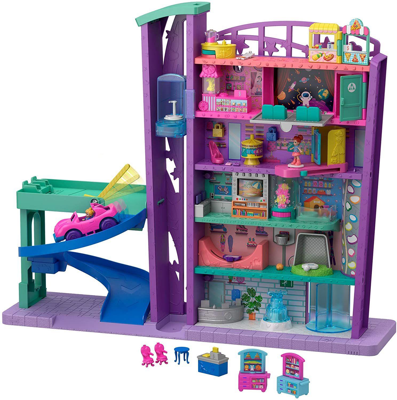 Polly Pocket Mega Mall/winkelcentrum met 6 verdiepingen, incl. Voertuig, poppen + accessoires