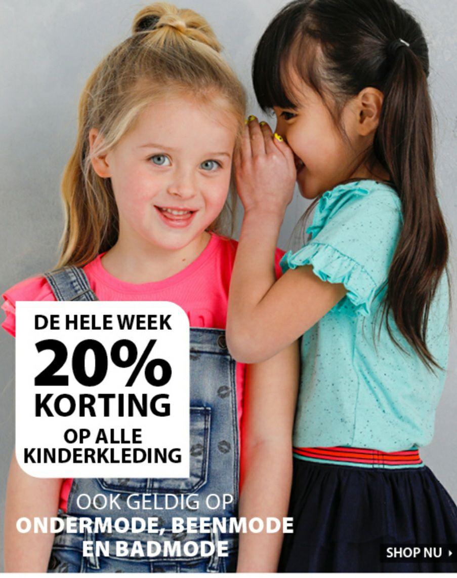 Terstal 20% korting op alle kinderkleding, onndergoed, beenmode en badmode