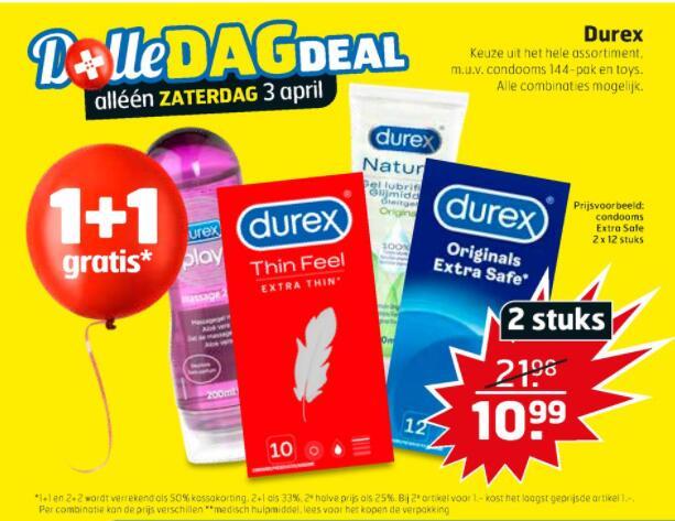 Zaterdag 3 april: 1+1 gratis op Durex bij Trekpleister