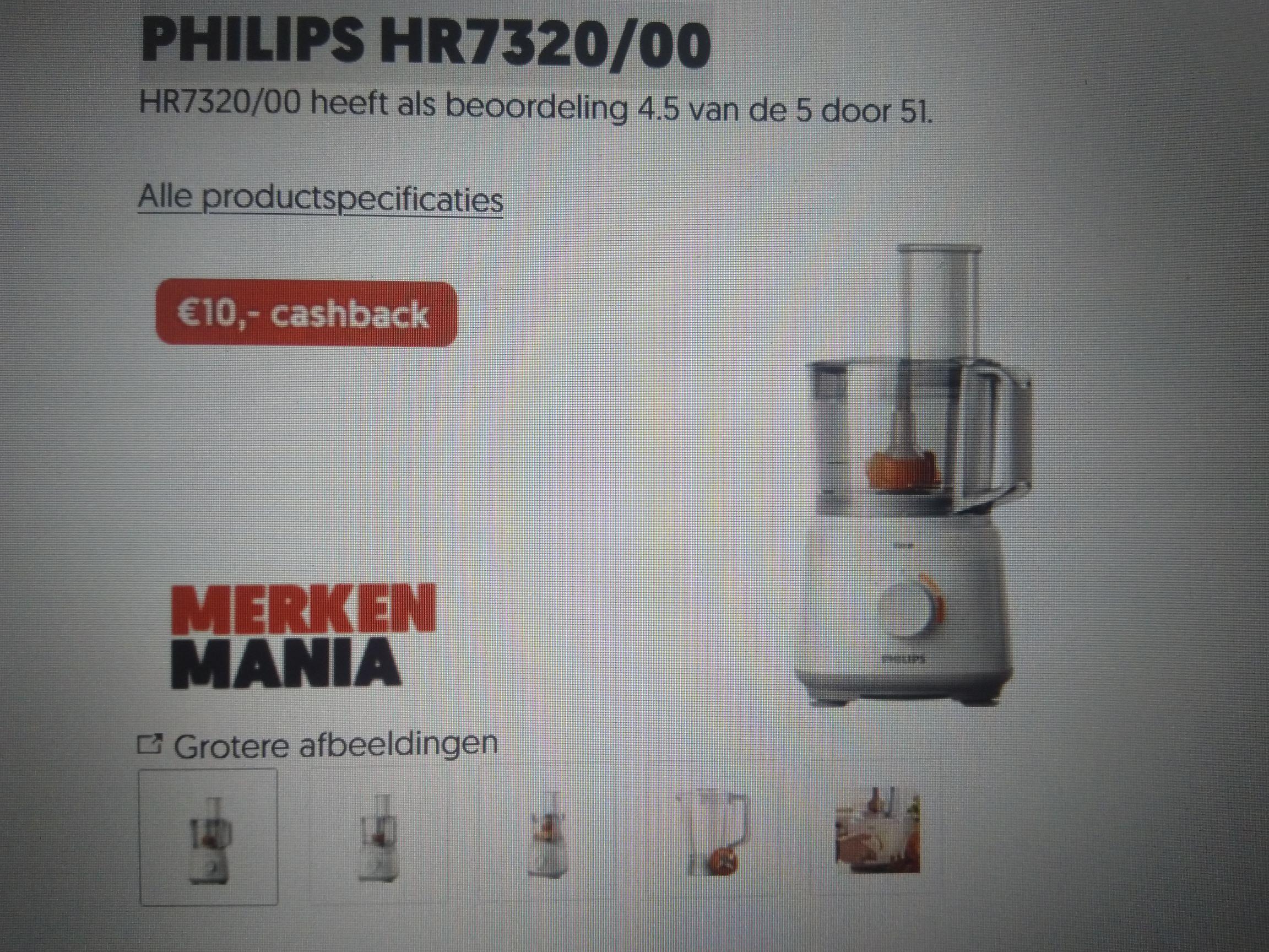 Foodprocessor Philips (PHILIPS HR7320/00) afgeprijsd + cashback