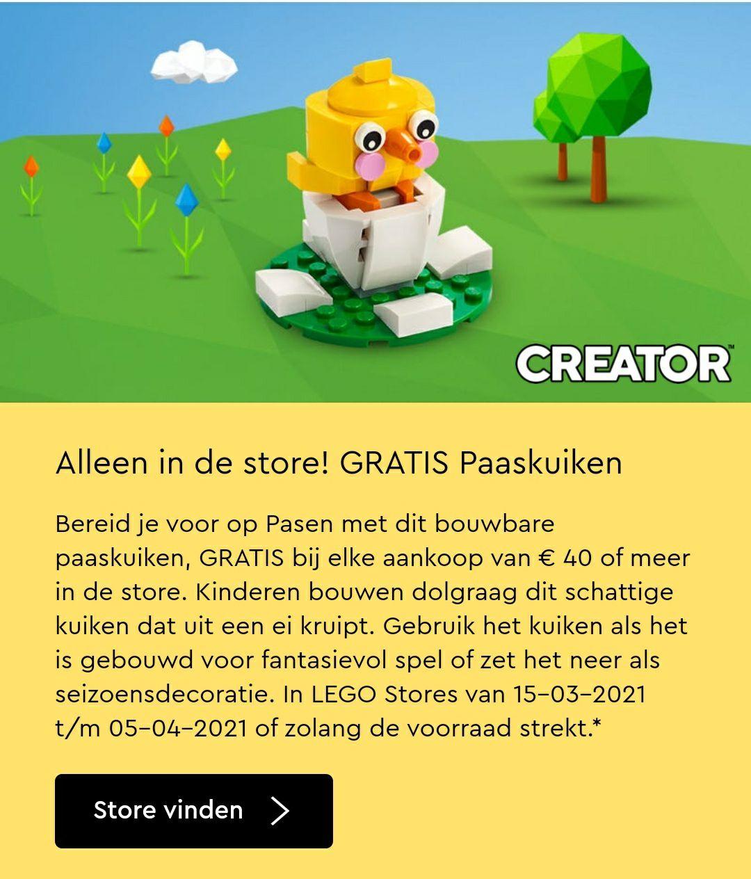 LEGO STORE Gratis paaskuiken bij elke aankoop van €40 of meer