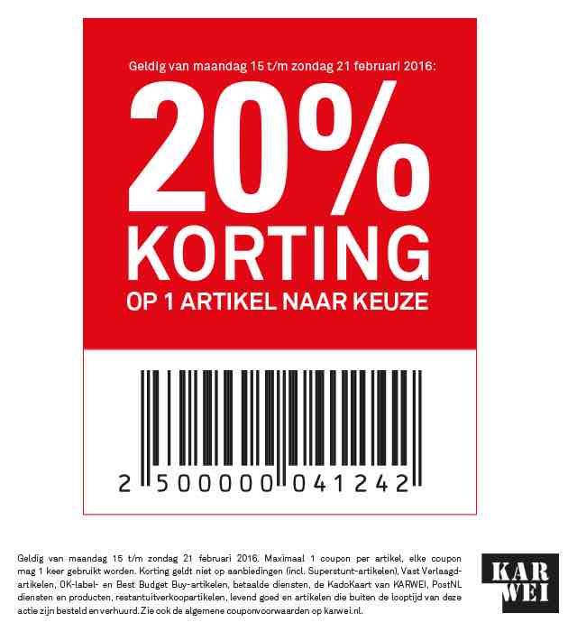 Karwei 20% korting op artikel naar keuze