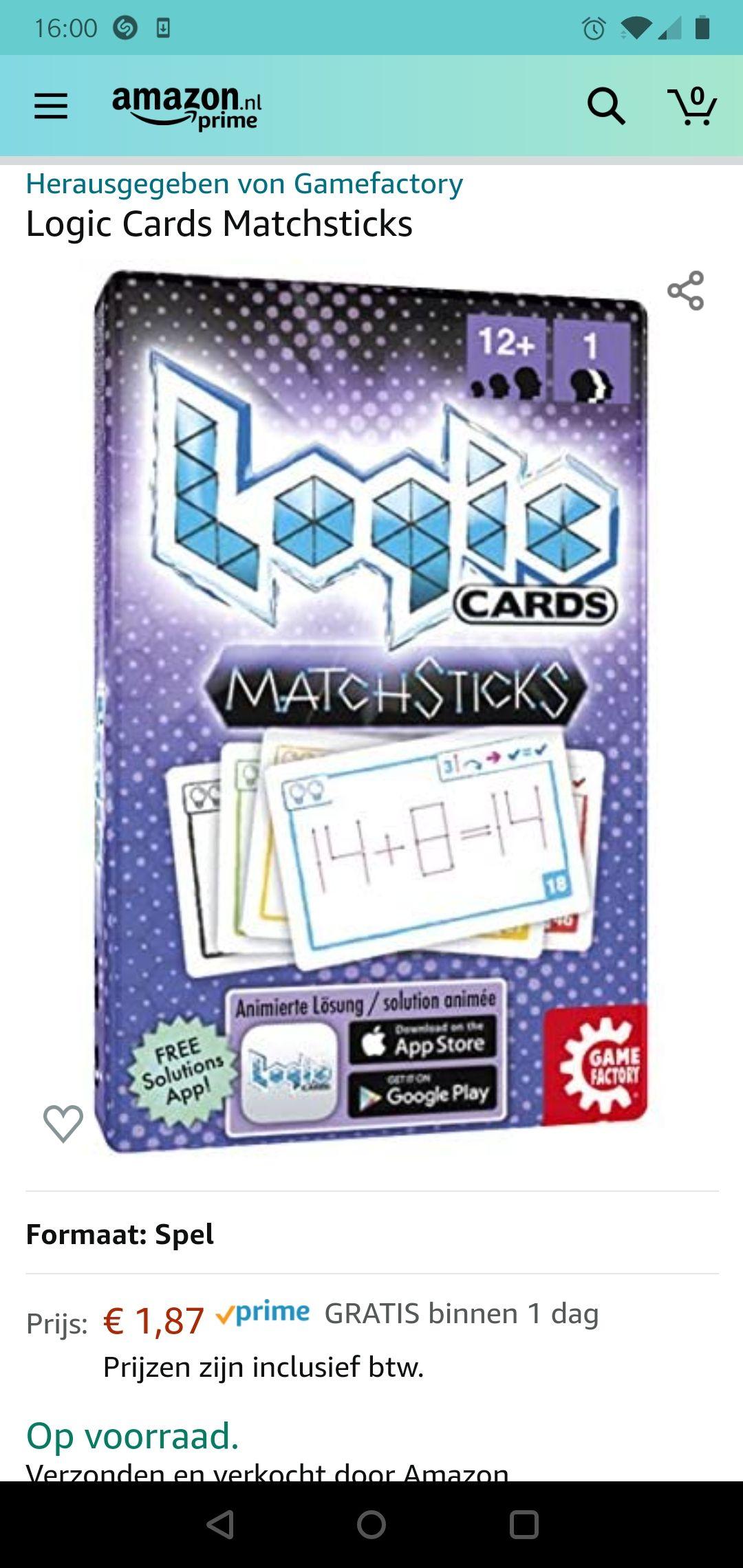Logic cards matchsticks